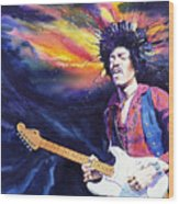 Hendrix Wood Print by Ken Meyer jr