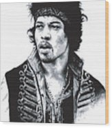 Hendrix No.02 Wood Print by Caio Caldas