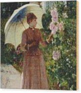 Henri Emile De Sachy France 19th Century Elegant Young Lady In The Garden Walk At Hollyhocks Wood Print