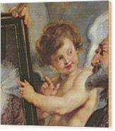 Henri Iv Receiving The Portrait Of Marie De Medici Wood Print by Rubens