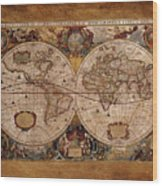 Henry Hondius Seventeenth Century World Map Wood Print by Skye Ryan-Evans