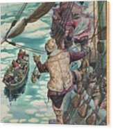 Henry Hudson Being Set Adrift Wood Print