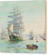 Tranquil Morning - Foochow, The Famous Clipper Thermopylae At Anchor Wood Print