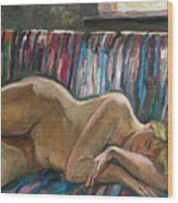 Her Sleep Wood Print