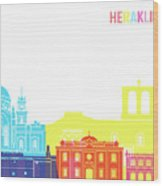 Heraklion Skyline Pop Wood Print