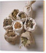 Herbal Teas And Seeds Wood Print