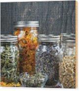 Herbs In Jars Wood Print