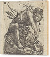 Hercules Overcoming The Nemean Lion Wood Print