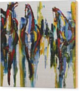 Herd Of Carousel Ponies Wood Print