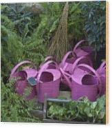 Herd Of Watering Cans Wood Print