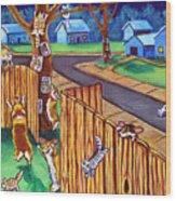 Herding Cats - Pembroke Welsh Corgi Wood Print by Lyn Cook