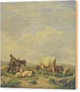 Herdsman And Herd Wood Print