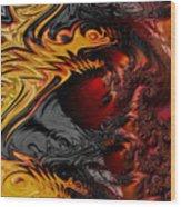 Here Be Dragons Wood Print