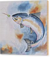 Here Fishy, Fishy Wood Print