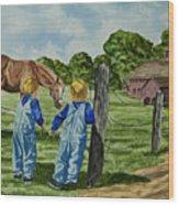 Here Horsey Horsey Wood Print