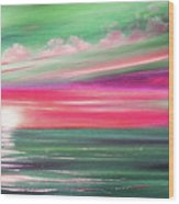 Here It Goes In Teal And Magenta Panoramic Sunset Wood Print