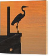 Heron At Sunset Wood Print