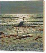 Heron Beachwalk Wood Print