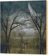 Heron By Moon Glow  Wood Print