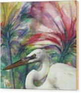 Heron Flair Wood Print