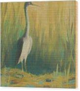 Heron In The Reeds Wood Print by Renee Kahn