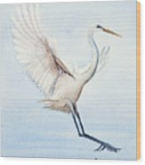 Heron Landing Watercolor Wood Print