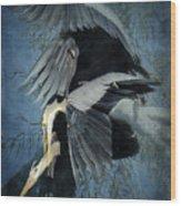 Heron Love  Wood Print