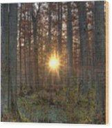 Heron Pond Sunrise Wood Print