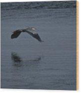 Heron Reflections 2 Wood Print