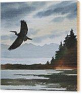 Heron Silhouette Wood Print
