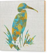 Heron Watercolor Art Wood Print