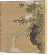 Herons And Cotton Roses Wood Print