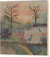 Heron's Hangout At Sunrise Wood Print