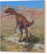 Herrarsaurus In Desert Wood Print