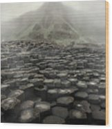 Hexagon Stones And A Mountain In The Morning Fog Wood Print