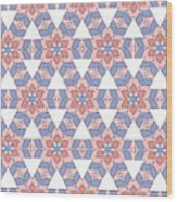 Hexagonal Flower Pattern Wood Print