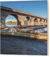 Hexham Bridge And Fish Pass Wood Print