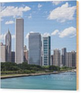 Hi-res Picture Of Chicago Skyline And Lake Michigan Wood Print