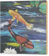 Hi Utsuri And Doitsu Koi Wood Print