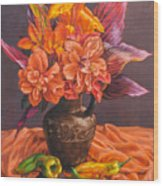 Hibiscus And Cannas In Balinese Jug Wood Print