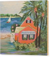 Hibiscus Beach House Wood Print