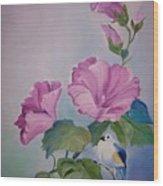Hibiscus Birdie Wood Print