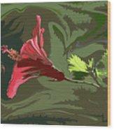 Hibiscus Dark And Light Photopainting 1 Wood Print