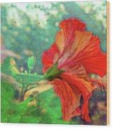 Hibiscus Flame Wood Print