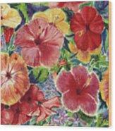 Hibiscus Impressions Wood Print