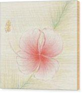 Hibiscus On Palm  Wood Print