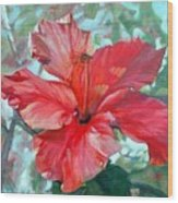 Hibiscus Rouge Wood Print