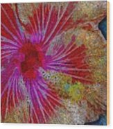 Hibiscus Stained Glass Wood Print