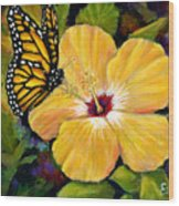 Hibiscus With Monarch Wood Print