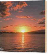 Hickam Sunset Wood Print